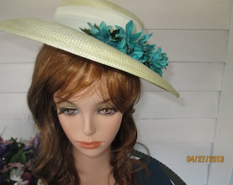 Vintage Betmar Cream Summer Straw Hat Organza Ribbon Teal Flowers Women Hats Church Hats Apparel Platter Hats Fashion Formal
