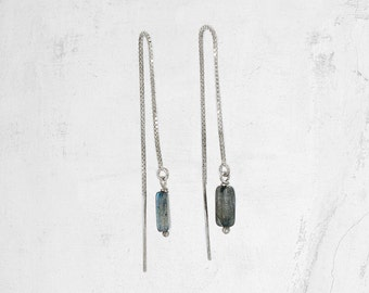 Silver Threader Earring | Gemstone Threader Earring | SAHARA Threader
