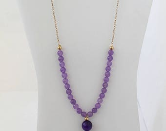 Long Necklace with Gold-Filled and Purple Agate. FK