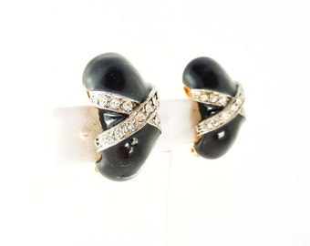 Black Statement Earrings with Clear Rhinestones and Enameled Design | Black and White Jewelry | 1940s Clip Ons | Black Clip On Earrings