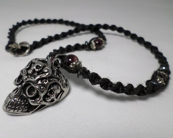 Awesome Hemp and Natural Garnet Stainless Steel Skull Necklace