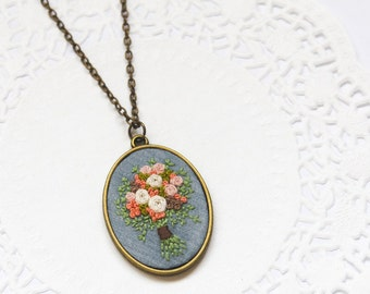 Hand Embroidered Peach Cream Old Rose Bouquet Necklace | Statement Long Pendant Necklace | Wedding Jewelry | Wedding Gift | Gift for Her