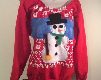 Womens Custom Altered Ugly Christmas Sweater Snowman Flex Fleece Pullover. Sweatshirt -S,M, L and XL