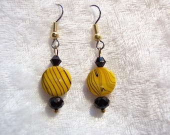 Yellow Earrings, Mother of Pearl Earrings, Black Line Swirls on Yellow Earrings, Yellow and Black Earrings, Gold, Clip-ons Available