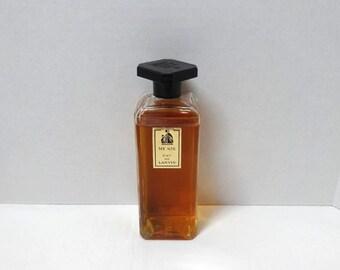1940s My Sin Eau de Lanvin Fragrance, Bakelite Carved Top with Labels, 4 oz., 90% Content, Mon Peche, Perfume Cologne, Vintage Vanity Parfum