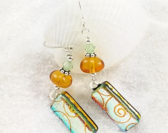 Dichroic glass earrings, Fused glass, handmade gifts, dichroic jewelry, orange earrings, statement earrings, Hana Sakura, dichroic Glass