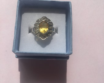 1.25 Rich Yellow Sapphire Ring Size 7