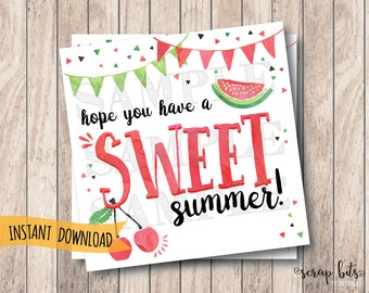 Instant Download Printable Sweet Summer Tags, Hope You Have A Sweet Summer, End of Year Tags, School's Out Tags, Watermelon Tags