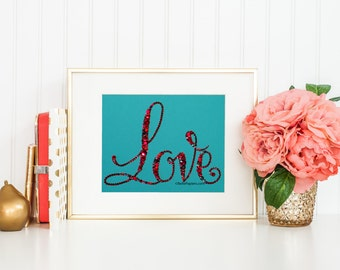 Love Word Art Swarovski Crystal Word Swarovski Cabochon Swarovski Pearl Word Button Name Nursery Wedding Gift Baby Shower Affirmation