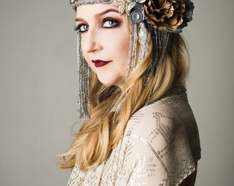The Milly - flapper style silver and gold head piece with tribal details
