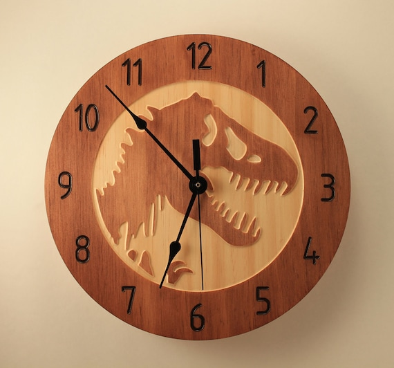 Pine T Rex Clock Dinosaur Clock Wood Clock Wall Clock Wooden