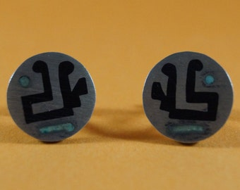 Sale!  1940's Modern Turquoise Cuff Links, Aztec, Enamel, Signed, #Shopnestandcompany