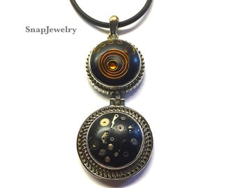 Snap Jewelry - Steampunk Snap Necklace, Tiny Watch Parts, Apoxie Sculpt, Snap Jewelry