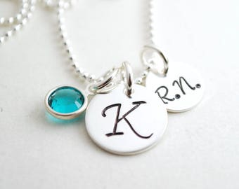 Custom Gift for Nurse - RN Initial Necklace - Nurse Jewelry - Nurse Necklace with Personalized Initial  - Hand Stamped Sterling Silver