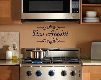 Kitchen Wall Decal - Bon Appetit Vinyl Wall Decal - Kitchen Decor Wall Art - Bon Appetit kitchen decor
