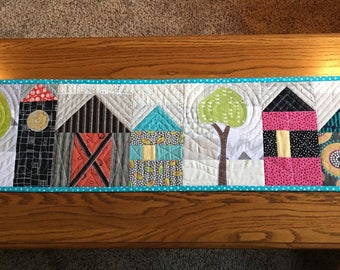 Scrappy House Table Runner, Street Table Runner, Table Runner with Barn and Silo