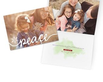 Christmas Card Template - Christian Religious Bible Verse Card - Folded 5x7 - PEACE - 1337