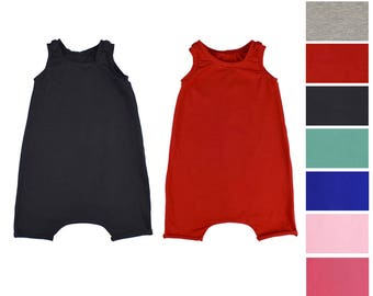 Baby Romper, Toddler Tank Romper, Baby Harem Romper, Hipster Baby Clothes, Solid Color Rompers, Baby Jumpsuit, Black Red Blue Pink Romper