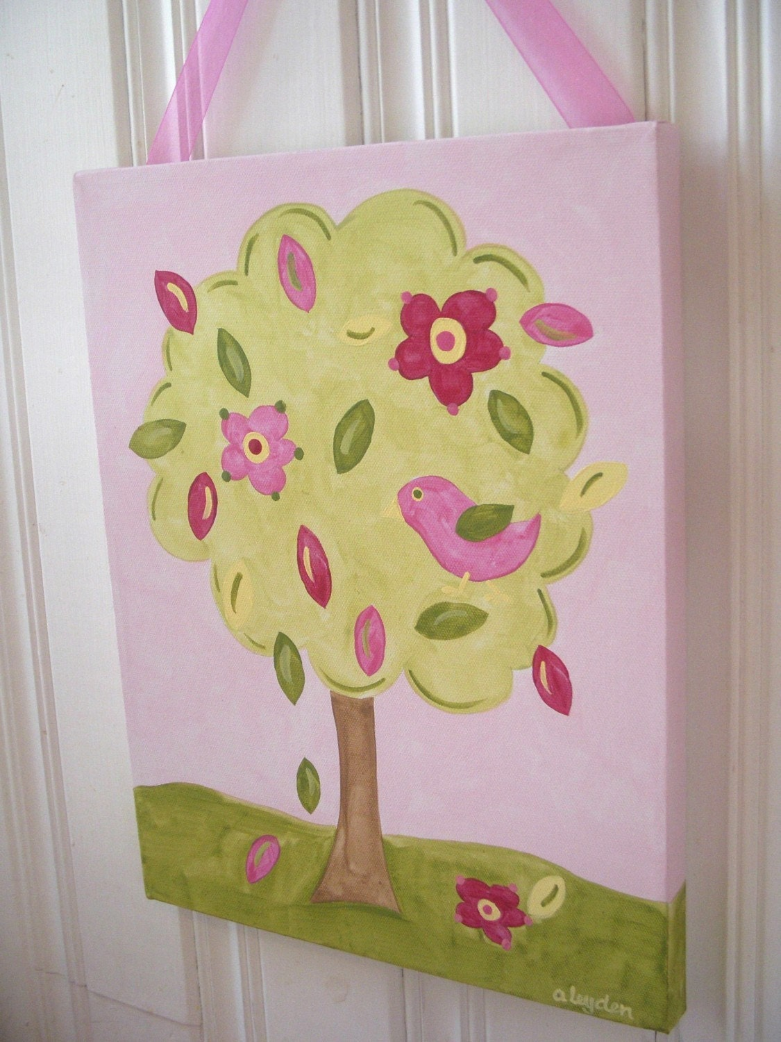 Flower tree bird canvas painting 11 x 14 Original hand painted