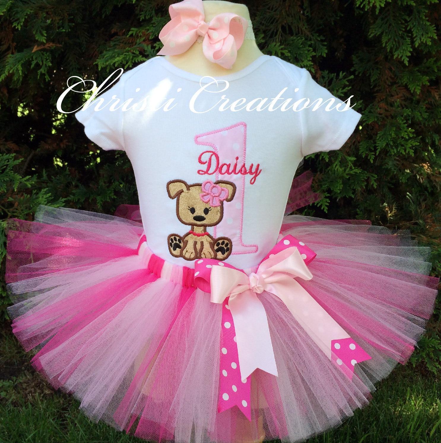 Baby Girl Birthday Tutu Outfit 1st Birthday Tutu Set Puppy