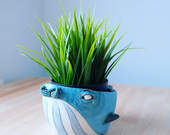 Ceramic Planter - Flower Pot - Ceramic Pot - Ceramic Pot - Succulent Planter - Handmade Pottery - Flowerpots - Plant Pot - Whale - Sealover