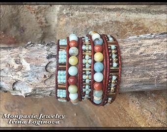 Amazonite and Golden Sandstone Beaded Wrap Bracelet - 5x Wrap Casual Bracelet - Boho Leather Wrap Bracelet