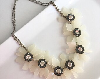 Southern Magnolia Necklace, Flower Bib Necklace, White Flower Necklace, Bridesmaid Necklace, Statement Flower Necklace, Rhinestone Necklace