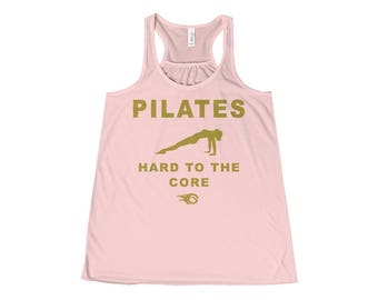 Pilates Soft Pink Workout Muscle Tank Top, Tanks with Sayings, Fun Fitness Tank, Fun Fitness Gift, Fitness Gift