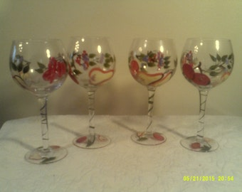 Four Vintage Hand Painted Wine Goblets, Painted Fruit Goblets, Stemmed Wine Goblets, Tall Wine Goblets, Painted Stemware, Bar Drinkware