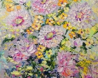 Chrysanthemums with yellow flowers; Original palette knife oil painting; framed