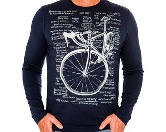 Cognitive Therapy Navy Long Sleeve - Men's Cycling T Shirt Gift For Cyclists Man Gift