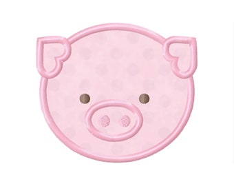 11 SIZES Pig Face Applique Embroidery Designs Machine Embroidery Designs PES Embroidery Pattern - Instant Download