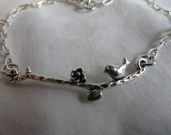 "8"" Bird on a Branch Anklet or Bracelet, Anklet, Bracelet, Bird, Branch"