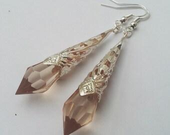 Champagne Silver Teardrop Earrings , Champagne Teardrop Earrings , Peach Earrings ,  Handmade Jewelry , Art Deco Earrings , Gift