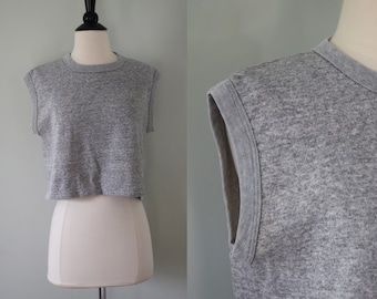 Vintage grey sweatshirt cropped top / sleeveless crop tank