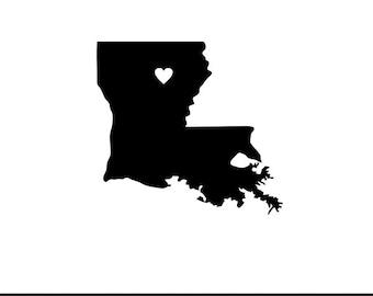 Louisiana heart svg dxf jpeg png file stencil monogram frame silhouette cameo cricut clip art commercial use