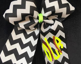 Monogrammed softball bow