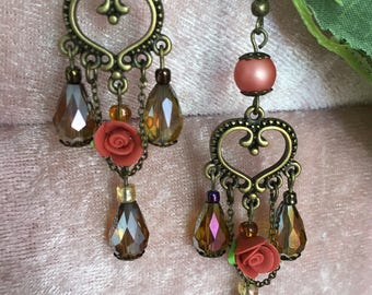 Romantic vintage earrings with crystals roses in boho style