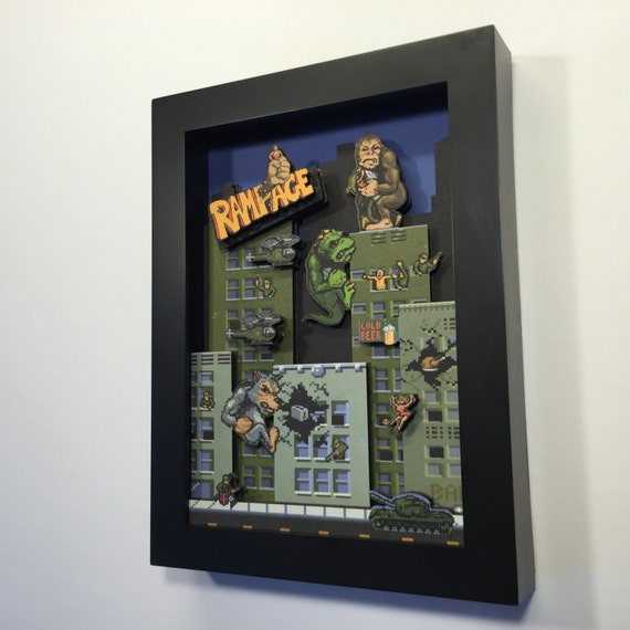 Rampage! Arcade Game 3D Shadow Box 5x7 Mini Edition!