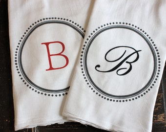 3 Custom Monogram Towels,TeaTowels, Flour Sack Towels,Tea Towels , Monogram Towel, Kitchen Towels,Modern Vintage Market