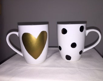 Golden Heart and Polka Dots mug set