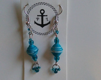 Teal Paper Bead Earrings