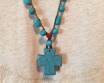 NL4  Blue Turquoise Howlite Bead and Cross Necklace
