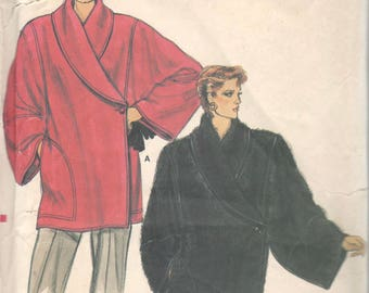 Vogue 9118 1980s Misses Jacket Pattern 2 Lengths Asymmetrical Shawl Collar Womens Vintage Sewing Pattern Size 8 10 12 Bust 31-34 UNCUT