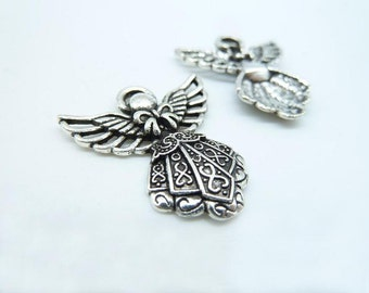 15pcs 23x26mm Antique Silver  Smaller Filigree Angel With Wings Charm Pendant c4133
