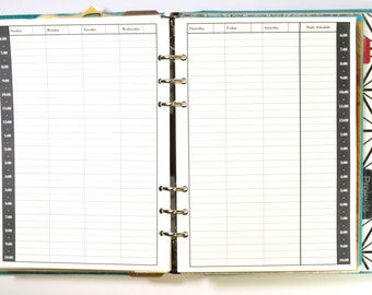 Undated Week on 2 Pages (WO2P) Appointment Book - Vertical Style - For A5 Filofax, Kikki K, etc.