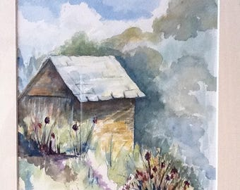 """""""shed"""": watercolor on 300 gram paper"""