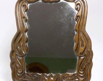Stylish 1910-30 Amsterdam School carved wall mirror
