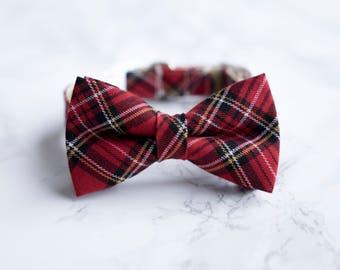 Red Tartan Dog Collar, Red Tartan Cat Collar, Rose Gold Collar, Red Cat Collar, Red Dog Bow, Trendy Puppy Collar, Fashion Bow Tie Collar