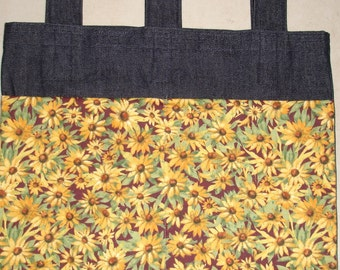 New Handmade Denim Walker Bag Brown Eyed Susan Flowers Theme